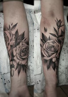 Black and gray rose tattoo. Artist @janissvars #rose #tattoo #rosetattoo…