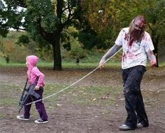 Love this! Zombie on a leash!!! Great idea for a kid and parent costume.