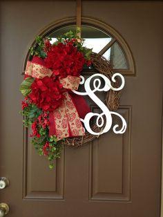 Valentine Hydrangea Wreath with Monogram Door Decor by Flowenka