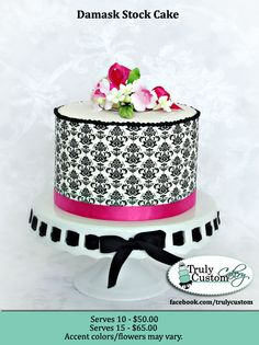 damask and pink cake stock info copy- Truly Custom Cakery