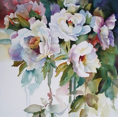 watercolor peonies by Aud Rye Watercolor Painting Techniques, Watercolor Artists, Watercolour Painting, Painting & Drawing, Watercolours, Watercolor Rose, Arte Floral, Whimsical Art, Botanical Art
