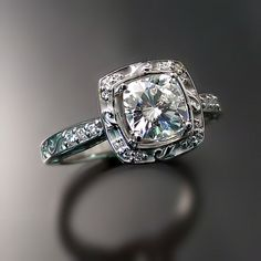 Vintage Style Engagement Ring with cushion (antique square) center and ornate sculptural halo