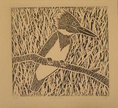 Kingfisher - linocut print