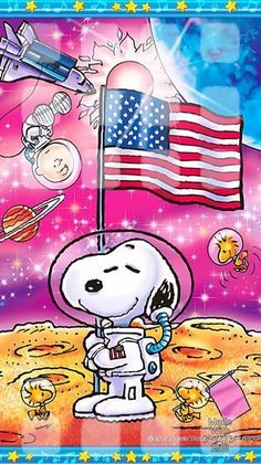 Snoopy, Charlie Brown, and Woodstock on the moon.