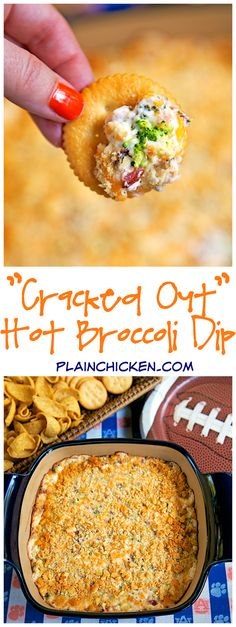 """""""Cracked Out"""" Hot Broccoli Dip. Baked broccoli dip loaded with cheddar, bacon, and ranch. From another pinner: """"SO addicting. Took this to a party and it was gone in a flash. Everyone asked for the recipe! Finger Food Appetizers, Yummy Appetizers, Appetizers For Party, Finger Foods, Appetizer Recipes, Baked Dip Recipes, Dessert Recipes, Desserts, Broccoli Dip"""