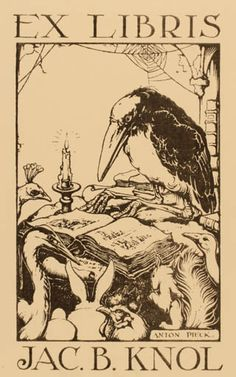 Ex Libris Crow::by Anton Pieck for Jac. Ex Libris, Anton Pieck, Tinta China, Dutch Painters, Dutch Artists, Wood Engraving, Book Illustration, Vintage Books, Illustrators