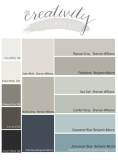 from the 2014 Reader favorite paint color poll on the The Creativity Exchange. All fantastic colors.Results from the 2014 Reader favorite paint color poll on the The Creativity Exchange. All fantastic colors. Paint Schemes, Colour Schemes, Eider White Sherwin Williams, Peppercorn Sherwin Williams, Iron Ore Sherwin Williams, Pintura Exterior, Comfort Gray, Repose Gray, Transitional Decor