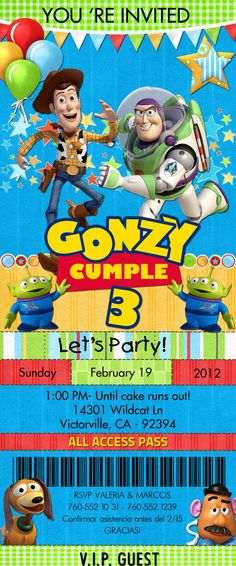 PARTY INVITATION Toy Story by EZ Party Kits by EZPARTYKITS