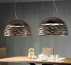 Coppery bronze metal pendants are very on-trend at the moment. we particularly love the Kelly pendant from Studio Italian Design, with a cut-out laser pattern. Also comes in white. Please follow the link to find out more : http://www.italian-lighting-centre.co.uk/studio-italia-design-m-94.html#.VPBMiy42VL8