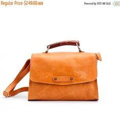 Crossbody Leather Purse / Womens Bag / Mustard Clutch /