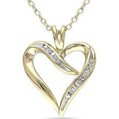 Sterling Silver Pendant Necklace Woman Fashion Heart Love Yellow Rhodium Diamond