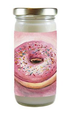 Scrumptiously Scented Like Pink Candy Sprinkle Donuts Sweet Smelling Soy 8 Ounce Candle