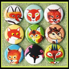 9 vintage fox 1 inch buttons