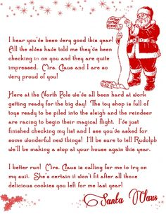 Letter from santa, free printable from frostedevents. Grab these cute free printable letter from Santa and give your child a little more Christmas magic Primitive Christmas, Santa Christmas, Little Christmas, Winter Christmas, Christmas Holidays, Christmas Crafts, Christmas Letters, Christmas Ideas, Christmas Planning