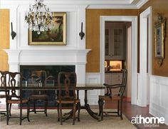 Eighteenth century Italian dining chairs are paired with an English side table.