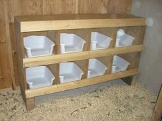 easy to clean nesting boxes. Cut the front edge so they don't roost on them.
