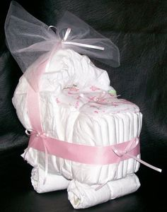 "Bassinet+Diaper+Cake+Pink+""A+Star+Is+Born""+Baby+Girl+Shower+Centerpiece"