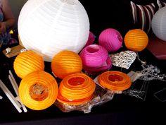 Pienk en Oranje chineese lanterns