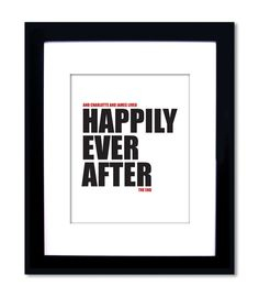 Gift for Couple, Personalized Engagement Gift, Wedding Gift, Wedding Shower, Bridal Shower Gift. Happily Ever After. Unframed 8x10 Print.. $24.00, via Etsy.