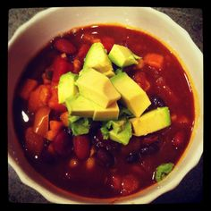 """Vegan Rainbow Chili-  Entered this photo in a contest, by clicking it you cast one vote for me! Contest runs till april 30th. """"vote""""/click as many times as you want! Thanks guys!"""