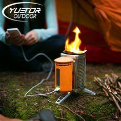Yuetor ultralight rvs kachel met usb oplaadbare apparaat voor backpacken outdoor koken picknick bbq brandende hout kachel