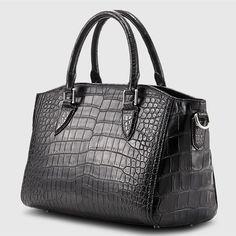 Casual Alligator Leather Tote Shoulder Handbag for Satchel Handbags, Purses And Handbags, Leather Purses, Leather Handbags, Next Purses, White Handbag, Leather Bags Handmade, Casual Bags, Shoulder Handbags