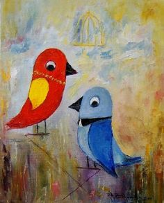 Birds Art Impression Original Fine Oil Painting Europe Artist Kid Blue Red Duet  #ImpressionismImpasto