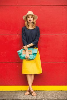 Black top blouse bright yellow skirt turquoise handbag. Brown sandals. style women fashion clothing @roressclothes apparel closet ideas ladies outfit summer clothes