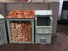 Robust wooden coal bunkers can also be treated with Sadolin Super dec colours before delivery bespoke orders always welcome. Outdoor Firewood Rack, Firewood Storage, Garden Tool Shed, Garden Tool Storage, Coal Bunker, Bin Shed, Bin Store, Wood Store, Cottage Garden Design