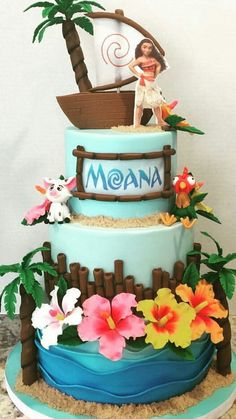 Birthday girl cake 40 Ideas for 2019 Moana Theme Birthday, Luau Birthday, Birthday Cake Girls, Birthday Cupcakes, 2nd Birthday Parties, Birthday Cake Disney, Moana Theme Cake, Birthday Ideas, Moana Party