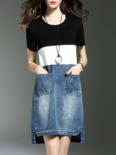Casual Crew Neck H-line Cotton Short Sleeve Mini Dress