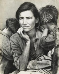 <b>DOROTHEA LANGE (1895-1965)</b> <br /> <i>Migrant Mother.</i> Silver print, 9<AF6/16>x7 1/2 inches (23.9x19.1 cm.), with a Culver Pictures hand stamp and notations, in ink, on verso. 1936; printed circa 1977
