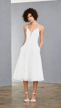 White lace dress for bridal shower or enagement party. White lace midi dress with spaghetti straps. White Bridal Dresses, Little White Dresses, Bridal Gowns, Rehearsal Dinner Outfits, Classic Wedding Dress, Dress Wedding, Wedding Reception, Necklines For Dresses, Lace Midi Dress