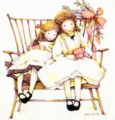Holly Hobbie sitting on a bench Sarah Kay, Holly Hobbie, Toot & Puddle, Sweet Drawings, Decoupage, Vintage Artwork, Little Girls, Sweet Girls, Paper Dolls