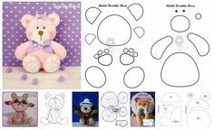 Como hacer osos de fieltro con moldes Felt Diy, Felt Crafts, Arts And Crafts Projects, Sewing Projects, Homemade Baby Toys, Bear Felt, Felt Mobile, Felt Christmas Ornaments, Felt Dolls
