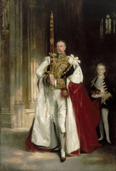 Charles Stewart, 6th Marquess of Londonderry, carrying the Great Sword of State, which he did at the Coronation of Edward VII, by John Singer Sargent. W. C. Beaumont, his nephew, and son of Viscount Allendale, was his page.  Grandson of the redoubtable marchioness who enchanted the Tsar.