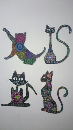 Silueta de gatos en puntillismo Mandala Art, Mandala Painting, Tropical Wall Decor, Cat Doodle, Wood Cat, Arte Country, Dot Art Painting, Metal Wall Art, Painted Rocks