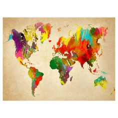 Arthouse Brights World Map Canvas Print 57x77cm