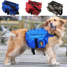 Large Doggy Saddle Bag Outdoor Backpack.  Camouflage Blue And Red. Type:DogsStyle:SportFeature:Eco-FriendlySeason:All SeasonsApplicable Dog Breed:Medium-sized DogPattern:SolidMaterial:Oxford ClothItem Type:Dog outdoor backpackModel:7CWB-ZBB-1