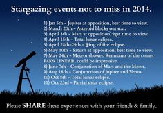 Stargazing events not to miss in 2014.  August 18th in my mind is the conjunction of Tarva and Alambil. Wonder if anyone gets the reference ;)