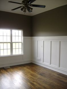 White wainscoting with wood floors = hallway, family room, dining room.