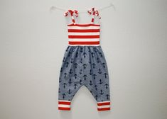 Baby Toddler Harem Romper Anchors Chambray with Red and White Striped Accents Pantsuit Jumpsuit One-Piece Girls