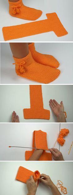 Easy to fold slippers - crochet / knitting instructions - Design Peak . - Easy-to-fold slippers – crochet / knitting instructions – Design Peak – knitting and crocheti - Crochet Socks, Knitted Slippers, Crochet Stitches, Crochet Baby, Free Crochet, Knit Crochet, Crochet Clothes, Slipper Socks, Baby Slippers