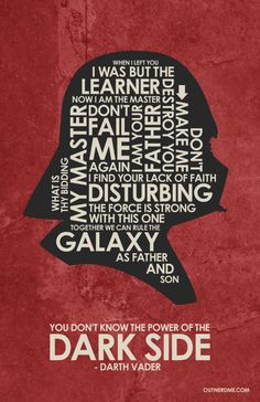 Star Wars - Darth Vader  ~ Movie Quote Poster by Stephen Poon #amusementphile