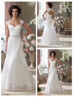 CAP SLEEVES SLIM A-LINE SWEETHEART LACE APPLIQUES WEDDING DRESSES