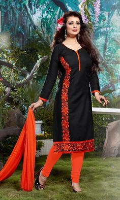 Black Cottan Designer Embroidery Work Salwar Kameez