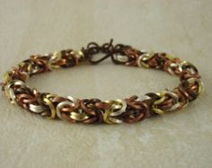 Bracelet Kit - Square Mixed Metals Byzantine Chainmaille - Unique Non Tarnish On Edge Rings