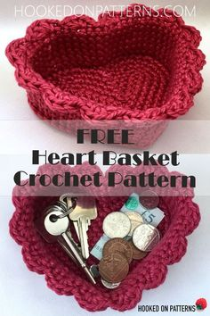 Free Heart Baskets Crochet Pattern - Crochet Patterns For Home from Hooked On Patterns. Crochet a cute heart shaped basket using this FREE crochet pattern. You can easily adjust the size of your baskets by changing your hook and yarn sizes! Crochet Doily Rug, Crochet Basket Pattern, Crochet Home, Crochet Gifts, Love Crochet, Crochet Flowers, Crochet Patterns, Crochet Baskets, Crochet Owls