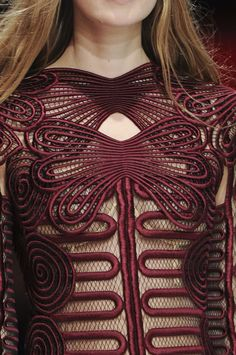 Christopher Kane in detail: Now on Fashion Me Now #mesh #embroidery #oxblood