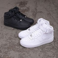 Nike Air Force Ones, Nike Shoes Air Force, Nike Air Force High, Air Force 1 Mid, Sneakers Mode, Sneakers Fashion, Shoes Sneakers, Fashion Sandals, White Sneakers